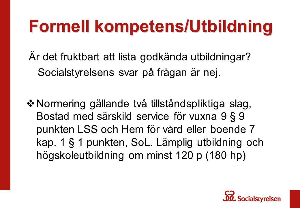 Formell kompetens/Utbildning