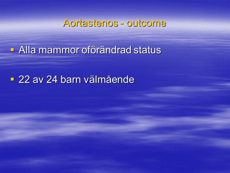 Aortastenos - outcome Alla mammor oförändrad status 22 av 24 barn välmående