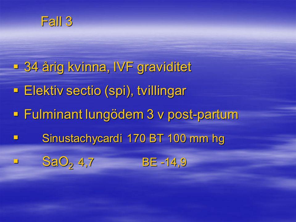 Fall 3 34 årig kvinna, IVF graviditet. Elektiv sectio (spi), tvillingar. Fulminant lungödem 3 v post-partum.