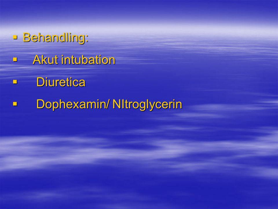 Behandling: Akut intubation Diuretica Dophexamin/ NItroglycerin
