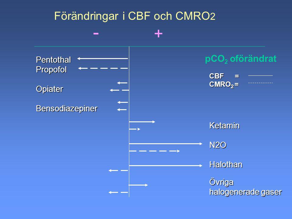- + Förändringar i CBF och CMRO2 pCO2 oförändrat Pentothal Propofol
