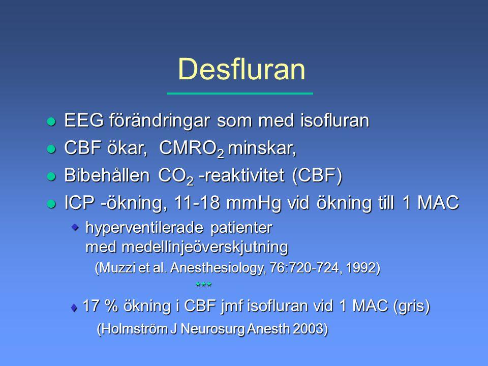 Desfluran EEG förändringar som med isofluran CBF ökar, CMRO2 minskar,