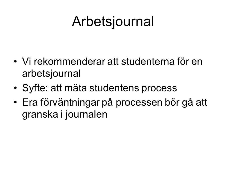 Arbetsjournal Vi rekommenderar att studenterna för en arbetsjournal