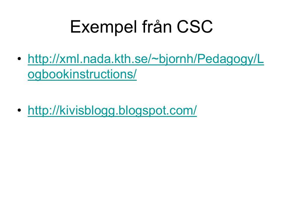 Exempel från CSC http://xml.nada.kth.se/~bjornh/Pedagogy/Logbookinstructions/ http://kivisblogg.blogspot.com/
