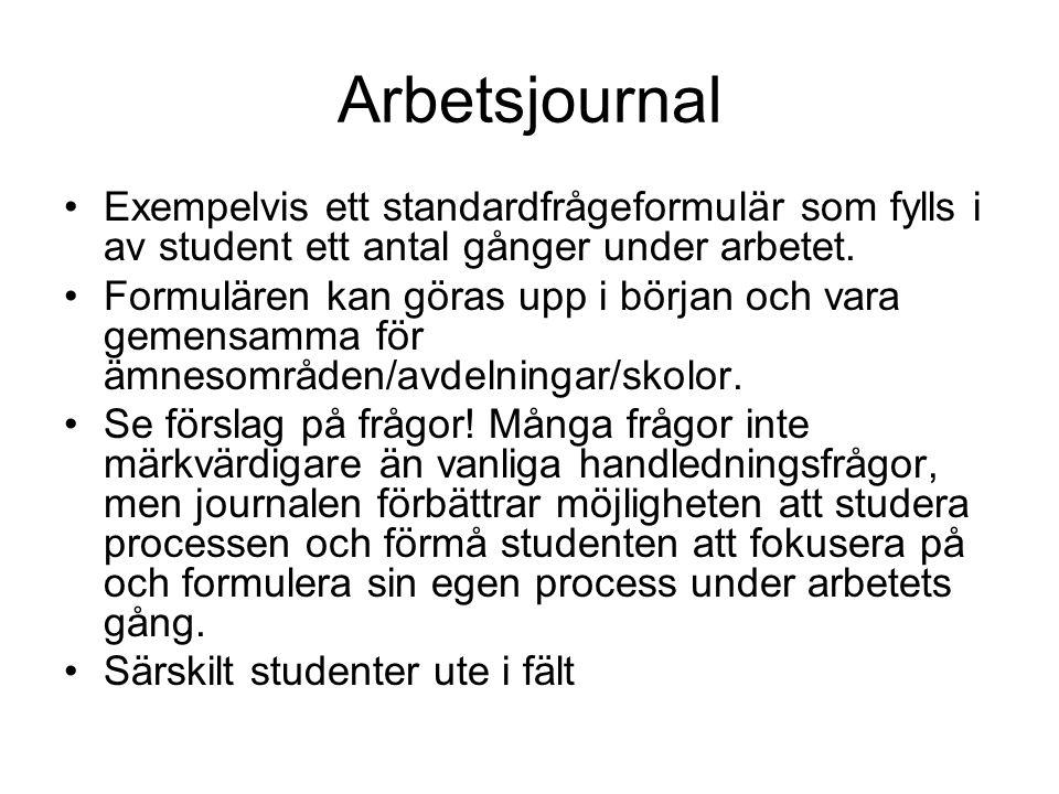 Arbetsjournal Exempelvis ett standardfrågeformulär som fylls i av student ett antal gånger under arbetet.