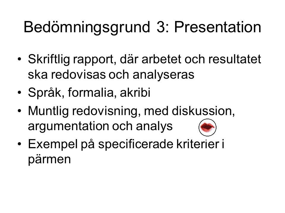Bedömningsgrund 3: Presentation