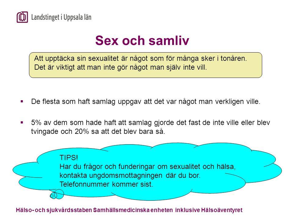 Sex och samliv Att upptäcka sin sexualitet är något som för många sker i tonåren. Det är viktigt att man inte gör något man själv inte vill.