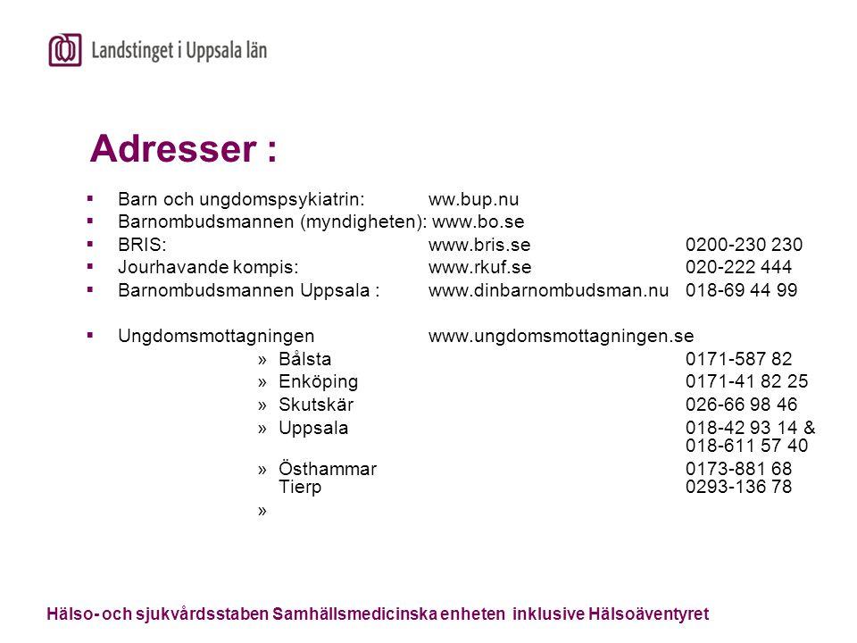 Adresser : Barn och ungdomspsykiatrin: ww.bup.nu