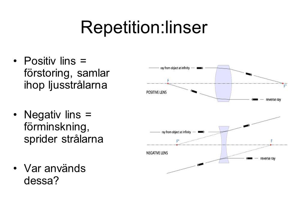 Repetition:linser Positiv lins = förstoring, samlar ihop ljusstrålarna
