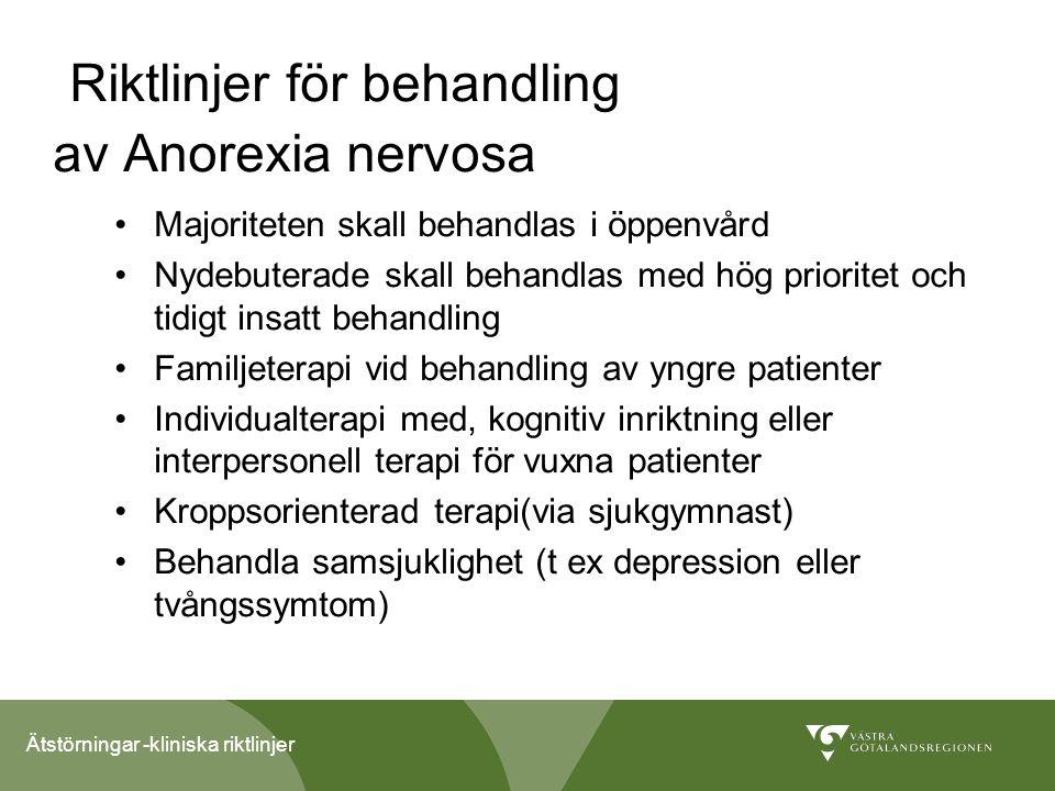 Riktlinjer för behandling av Anorexia nervosa