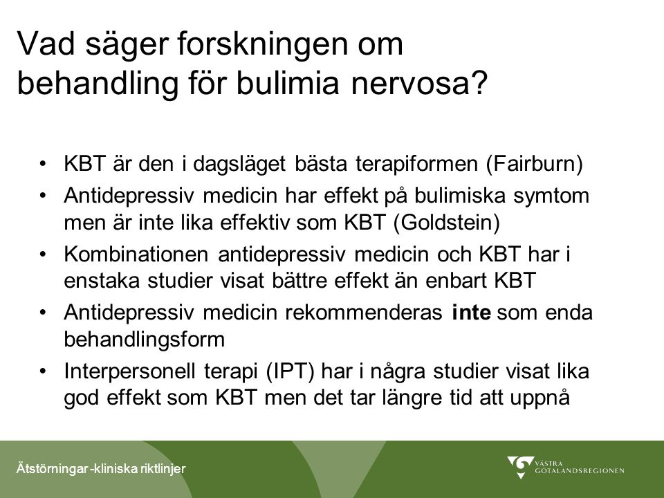 Vad säger forskningen om behandling för bulimia nervosa