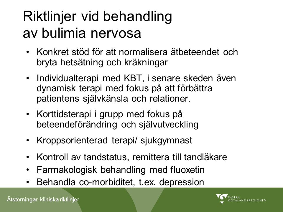 Riktlinjer vid behandling av bulimia nervosa