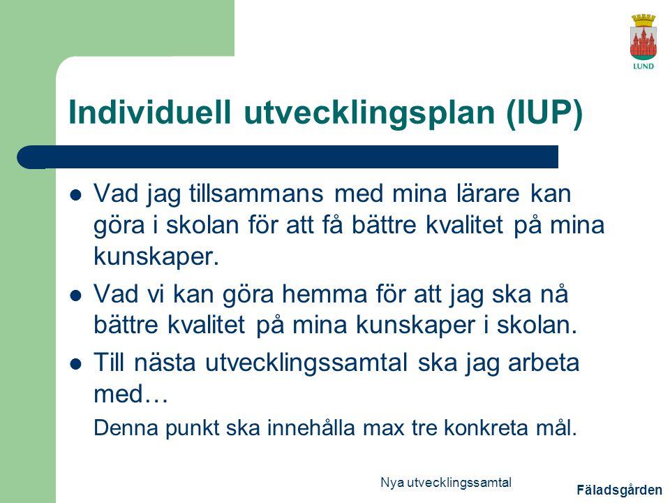 Individuell utvecklingsplan (IUP)