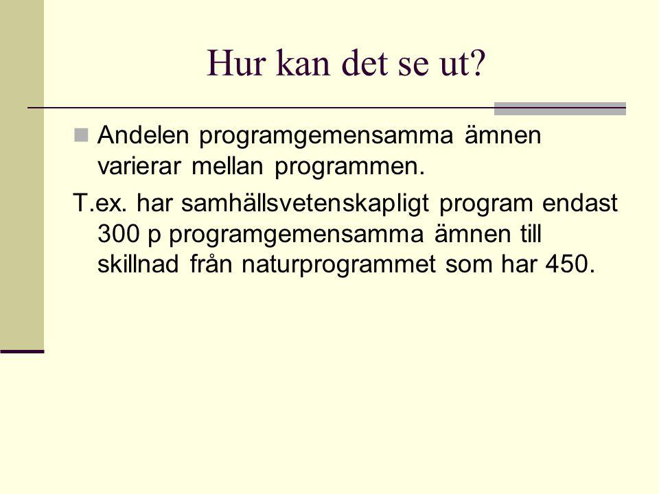 Hur kan det se ut Andelen programgemensamma ämnen varierar mellan programmen.