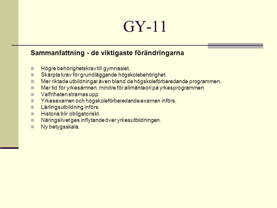 GY-11 Sammanfattning - de viktigaste förändringarna