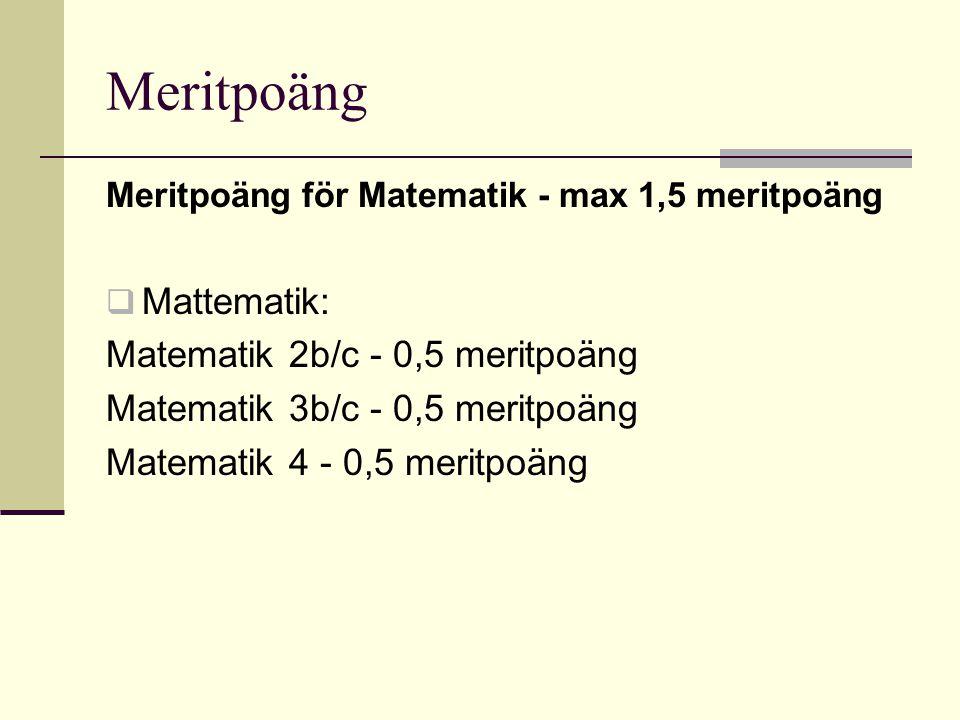 Meritpoäng Mattematik: Matematik 2b/c - 0,5 meritpoäng