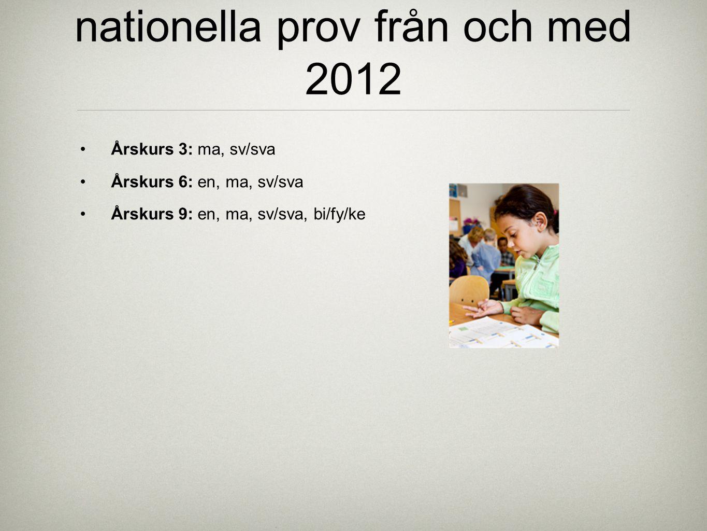nationella prov från och med 2012