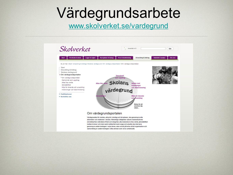 Värdegrundsarbete www.skolverket.se/vardegrund