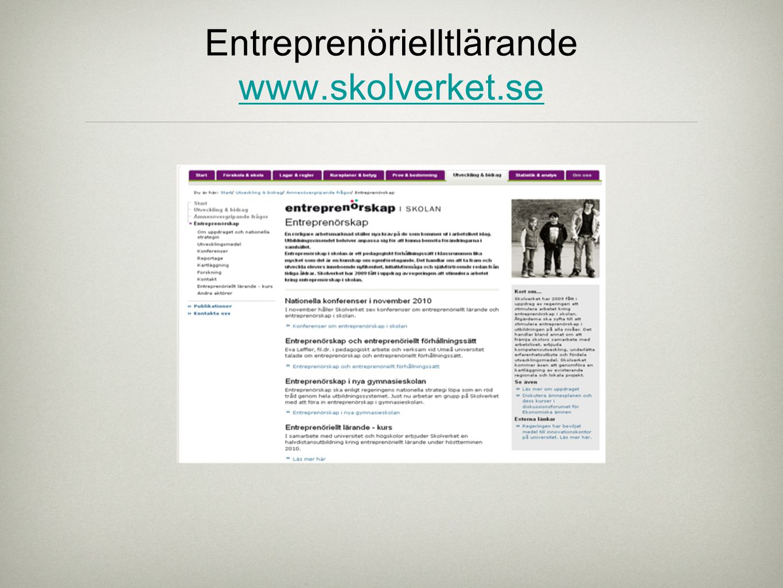 Entreprenörielltlärande www.skolverket.se