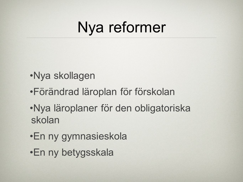 Nya reformer Nya skollagen Förändrad läroplan för förskolan