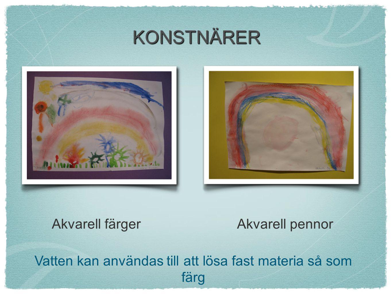 Vatten kan användas till att lösa fast materia så som färg