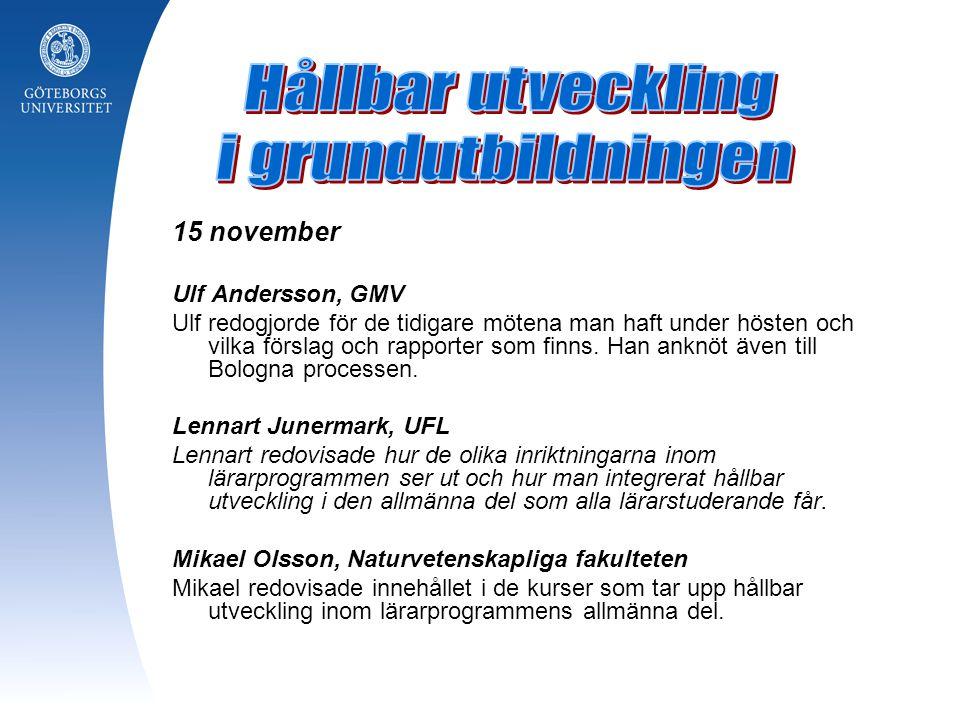 Hållbar utveckling i grundutbildningen 15 november Ulf Andersson, GMV