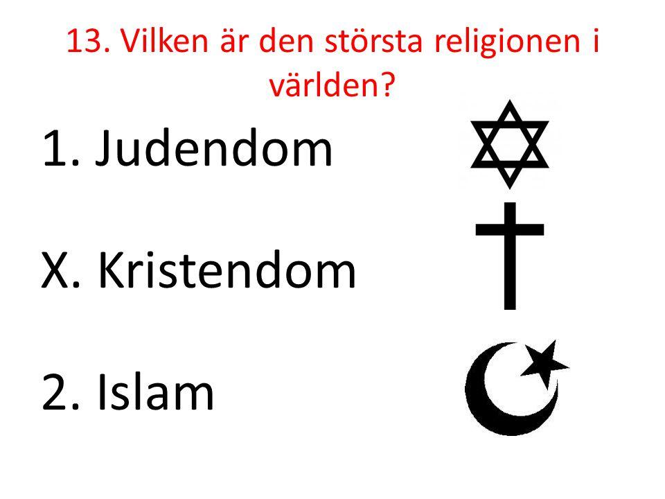 13. Vilken är den största religionen i världen