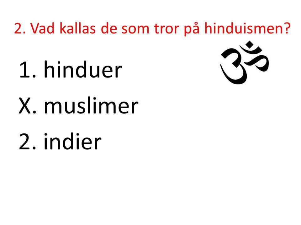 2. Vad kallas de som tror på hinduismen