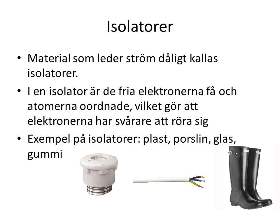 Isolatorer Material som leder ström dåligt kallas isolatorer.