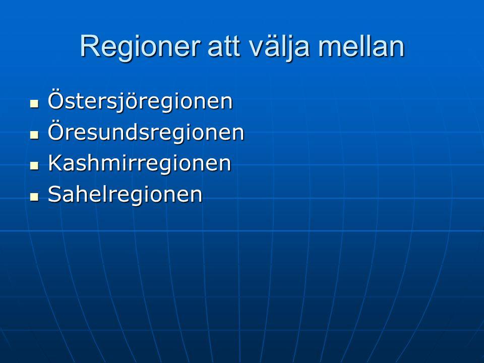 Regioner att välja mellan