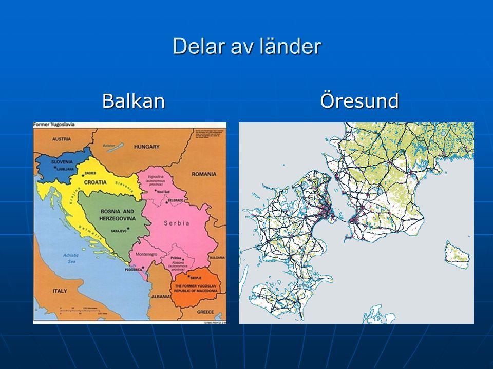 Delar av länder Balkan Öresund