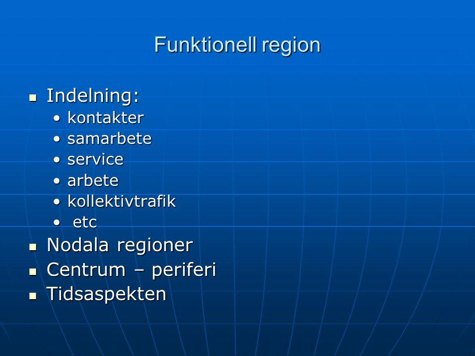 Funktionell region Indelning: Nodala regioner Centrum – periferi