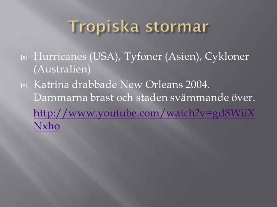 Tropiska stormar Hurricanes (USA), Tyfoner (Asien), Cykloner (Australien)