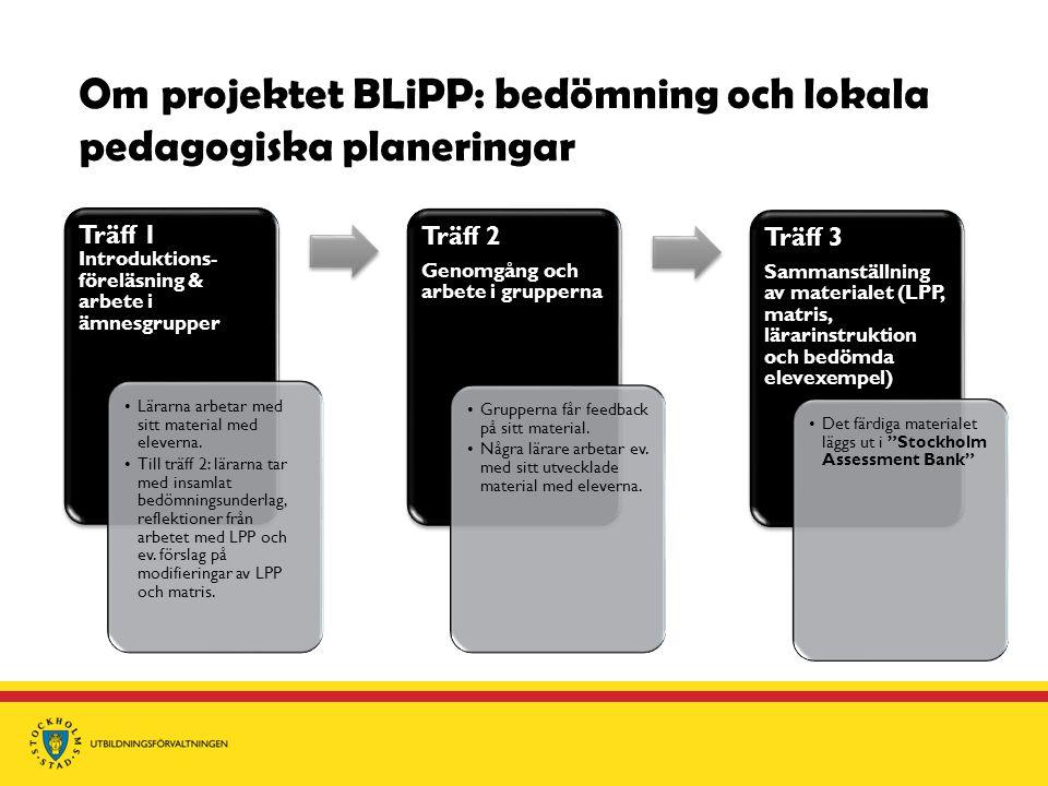 Om projektet BLiPP: bedömning och lokala pedagogiska planeringar