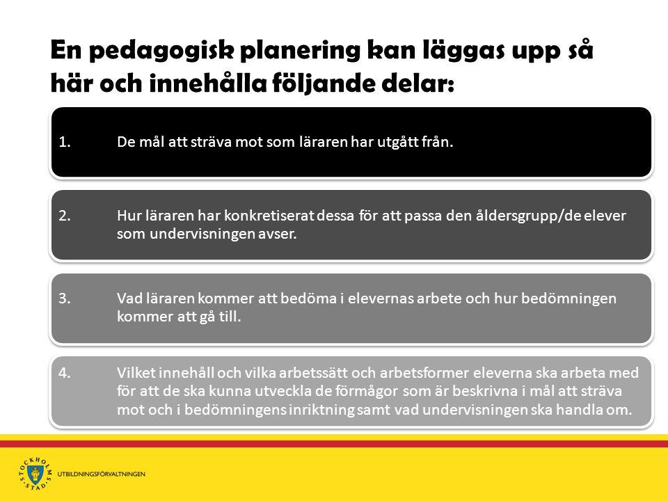 En pedagogisk planering kan läggas upp så här och innehålla följande delar: