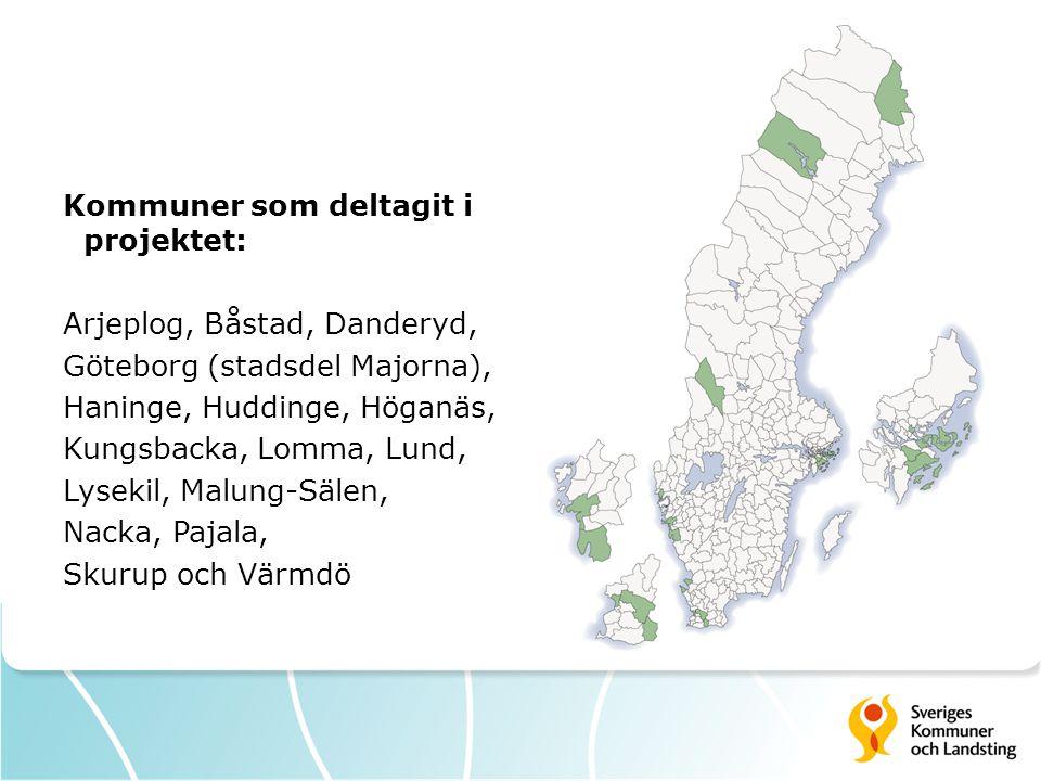 Kommuner som deltagit i projektet: Arjeplog, Båstad, Danderyd, Göteborg (stadsdel Majorna), Haninge, Huddinge, Höganäs, Kungsbacka, Lomma, Lund, Lysekil, Malung-Sälen, Nacka, Pajala, Skurup och Värmdö
