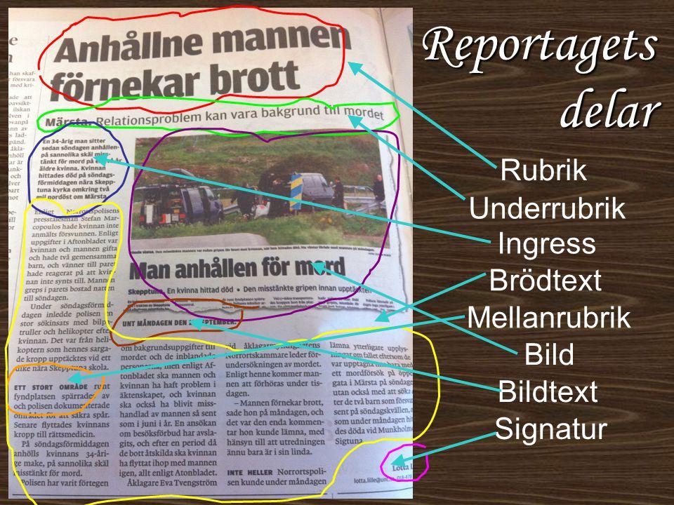 Reportagets delar Rubrik Underrubrik Ingress Brödtext Mellanrubrik