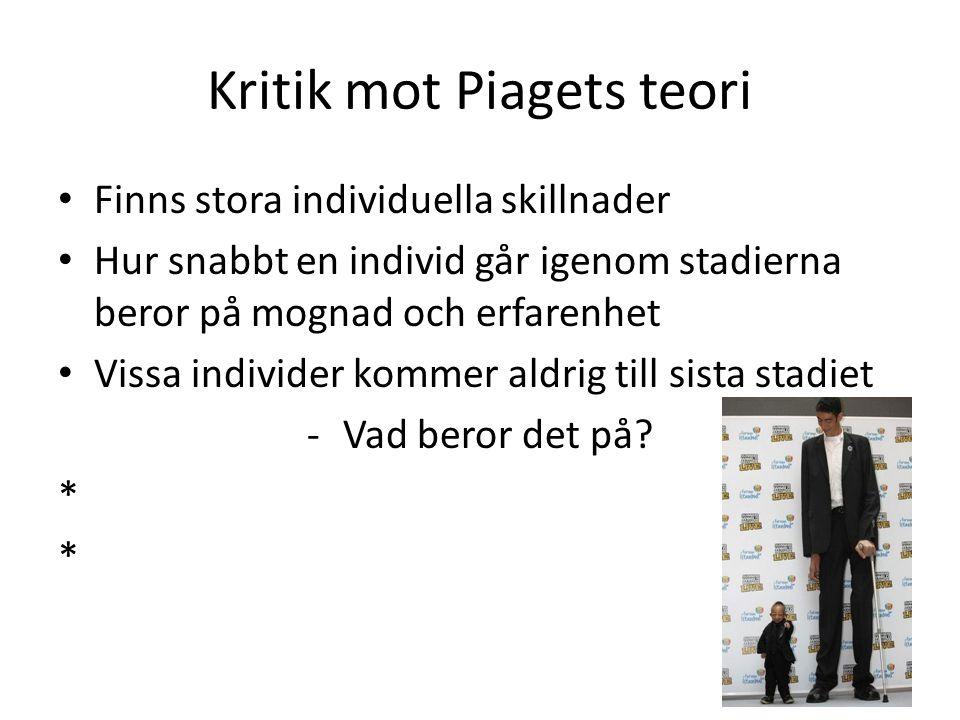 Kritik mot Piagets teori