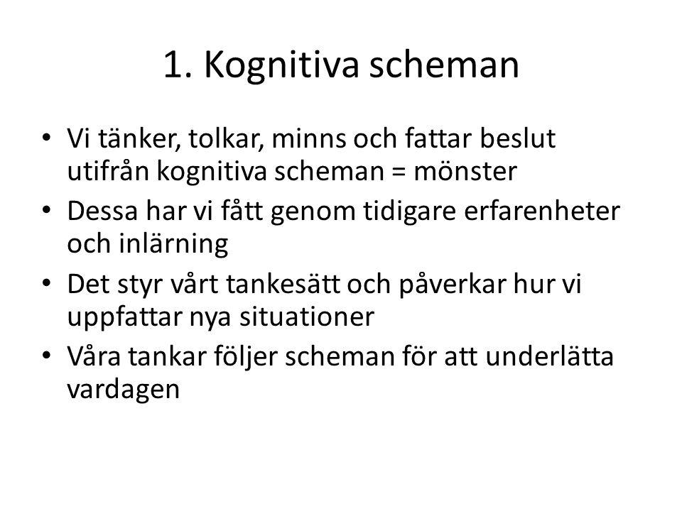 1. Kognitiva scheman Vi tänker, tolkar, minns och fattar beslut utifrån kognitiva scheman = mönster.