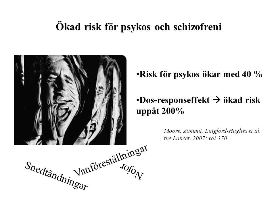 Ökad risk för psykos och schizofreni