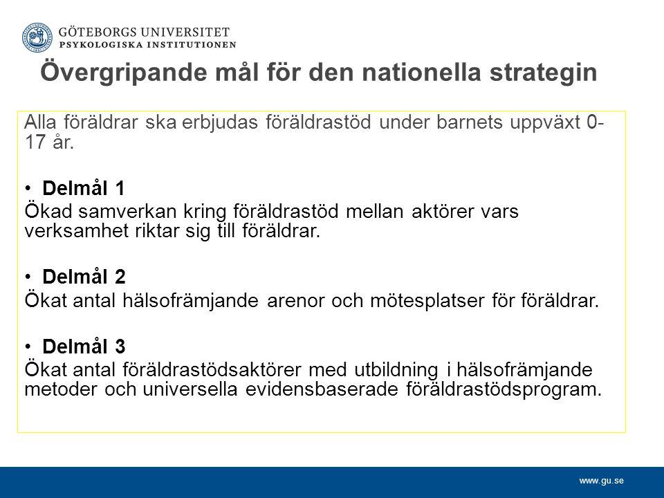 Övergripande mål för den nationella strategin