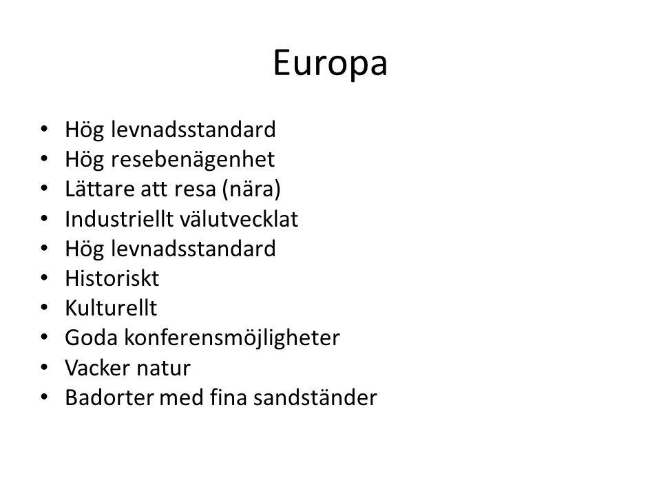 Europa Hög levnadsstandard Hög resebenägenhet Lättare att resa (nära)
