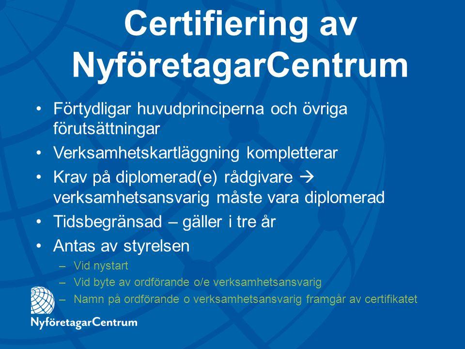 Certifiering av NyföretagarCentrum
