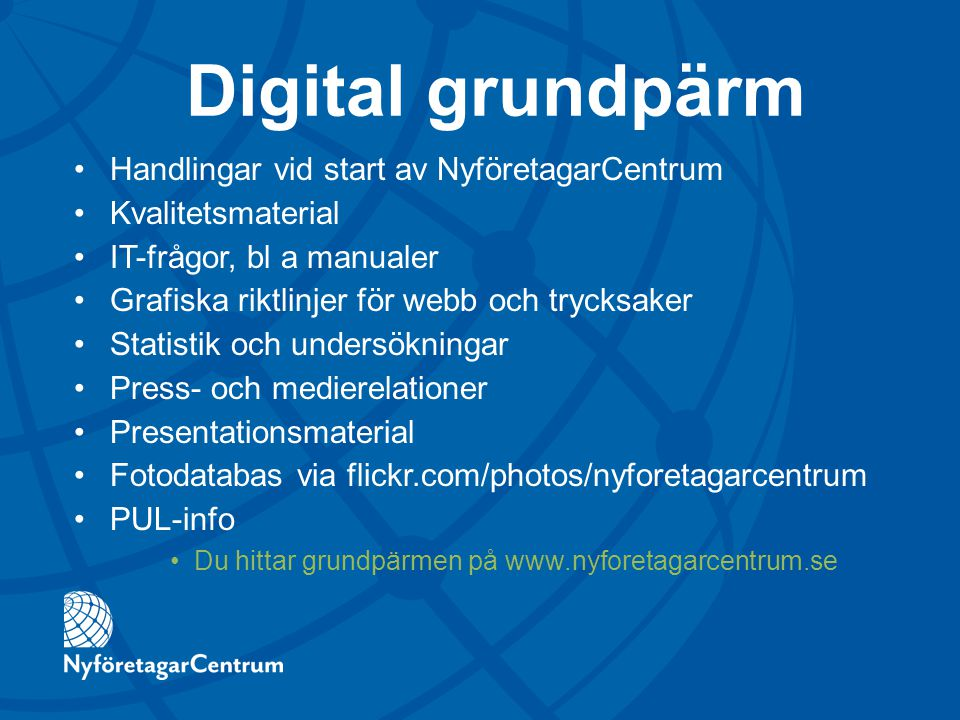 Digital grundpärm Handlingar vid start av NyföretagarCentrum