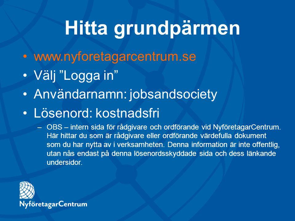 Hitta grundpärmen www.nyforetagarcentrum.se Välj Logga in