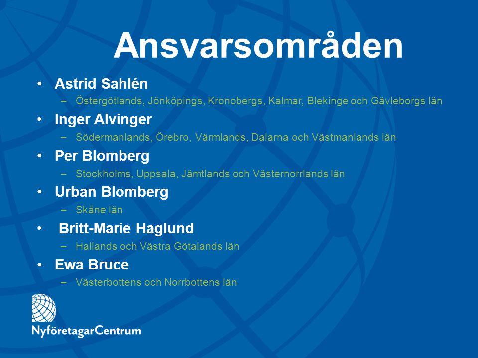 Ansvarsområden Astrid Sahlén Inger Alvinger Per Blomberg
