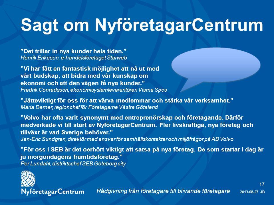 Sagt om NyföretagarCentrum