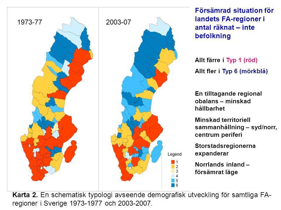 Försämrad situation för landets FA-regioner i antal räknat – inte befolkning