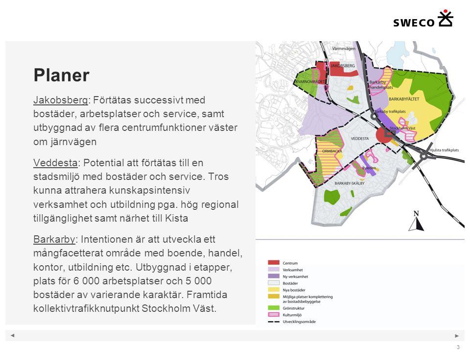 Planer Jakobsberg: Förtätas successivt med bostäder, arbetsplatser och service, samt utbyggnad av flera centrumfunktioner väster om järnvägen.