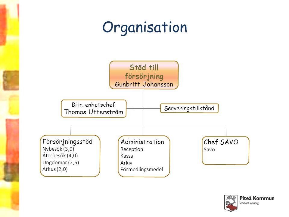 Organisation Stöd till försörjning Gunbritt Johansson